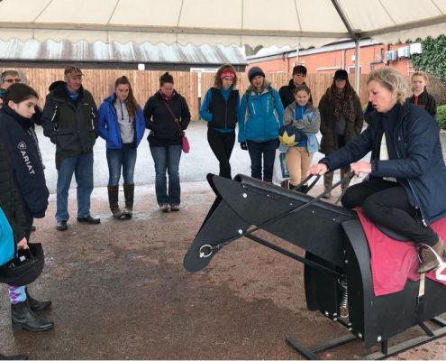 Racing to School's Carrie Ford giving tips to Pony Club members