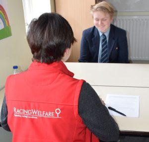 Dee Garrelli interviewing a pupil from Newmarket Academy